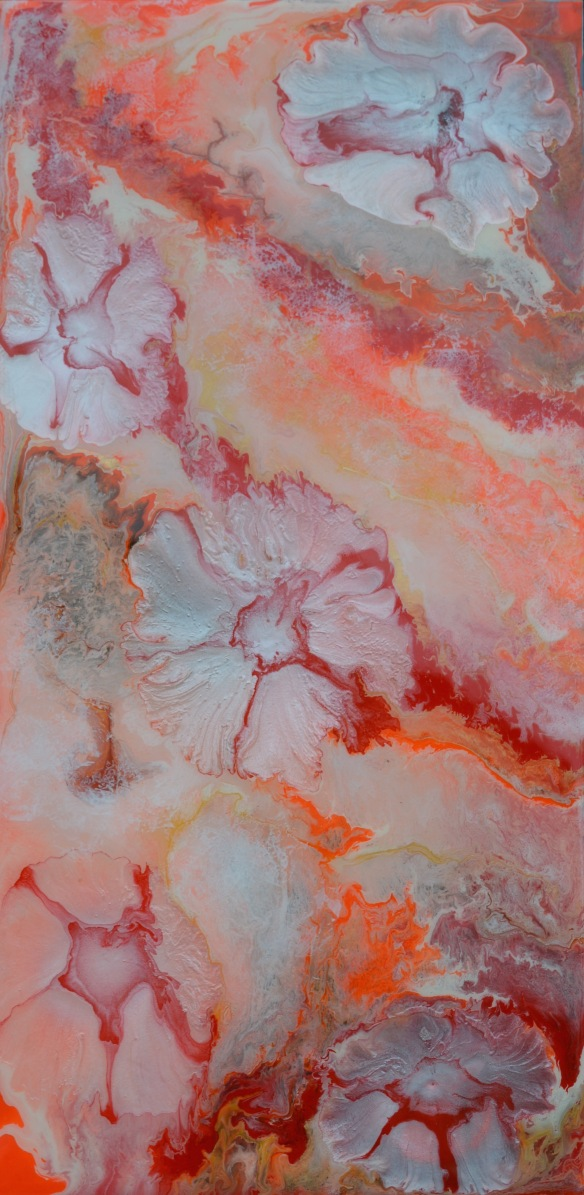 Abstract Flowers Coral and Pink #1