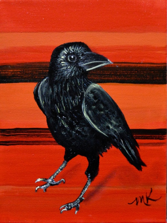 baby crow in red