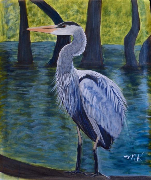 Blue Heron in a Swamp